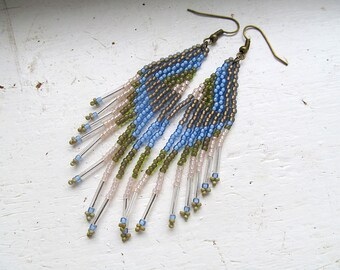 Beadwork Fringe Earrings, Native American Style, Feather Earrings, Earth and Sky, Boho Jewelry, Hippie Earrings, Blue and Green, Boho Chic