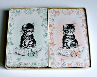 Kitten Playing Cards Pink Green Vintage 2 Decks with Tax Stamps Cat on Cushions in Hostess Box
