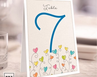 Dancing Hearts Tent Style Table Numbers - 023 - Kays Weddings
