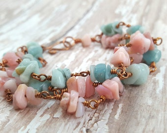 Pink Opal Amazonite Bracelet - Mixed Gemstone Chip Bracelet - Chunky Bracelet - Copper Wire Wrapped Multi Strand Bracelet - Natural Jewelry