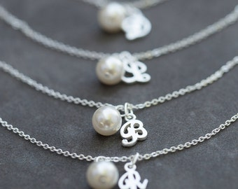 Personalized Bridesmaid Jewelry, Set of 5, Pearl Bridesmaid Gifts,  Sterling Silver Initial Bracelets