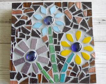 Mosaic Art, Mosaic Wall Art, glass mosaic, mosaic flowers, Birthday gift for her, flower mosaic, wall hanging