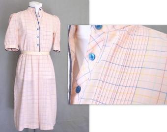1970s Secretarys Dress, Vintage Pink Oxford Shirtwaist, Pinstripe Plaid Dress, Modern Size 8, Small