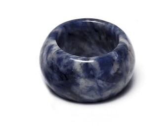 Carved Lapis Lazuli gemstone ring
