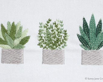 Machine embroidered pattern design plants - three digital files instant download