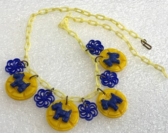 Vintage early plastic yellow and blue scotty dogs necklace