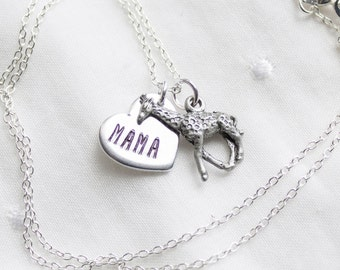 Mama Giraffe Necklace - Silver Mama Giraffe Jewelry - Gift for Mom Necklace - Mother Giraffe Gift for Mothers Day Gift cyber monday sale