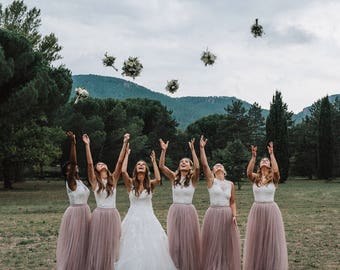 Full Length Tulle Skirt Bridesmaid Flower Girl Skirt Wedding Dress Tutu Ballet