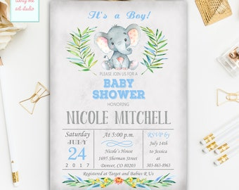 Elephant Baby Shower Invitation, It's a Boy Baby Shower Invitations, Jungle Safari Baby Shower Invites, Elephant Invitation Printable Invite