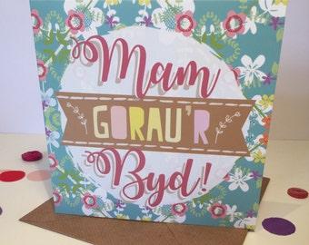 Carden 'Mam Gorau'r Byd!' - Welsh 'World's Best Mum!' Card (148mm x 148mm) Birthday, Floral, Cymraeg