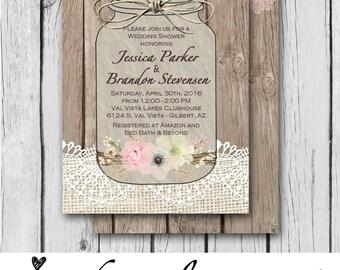 Burlap and Lace, Mason Jar, Flowers, Vintage, Pink, Wood - Wedding Invitation / Bridal Shower / Baby Shower / Birthday - Digital and Printed