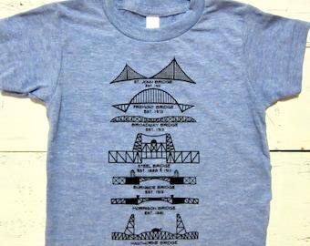 Portland Bridges toddler shirt. PDX Bridges kids shirt. LIMITED PRINT. Hand drawn.