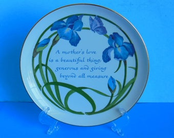 Vintage Mothers Day Plate Blue Iris 1984 American Greeting Lasting Memories Edition Collectible Porcelain Mothers Day Plate Gift for Mom