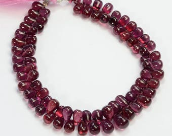 135CT Gem Rhodolite Garnet Smooth Full Teardrop Briolette Bead 8 inch strand