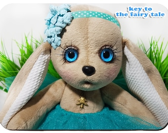 Sweet Bunny Plush - Handmade soft bunny toy, ragdoll, baby toy, toddler toy Little hare (rabbit, bunny) interior doll