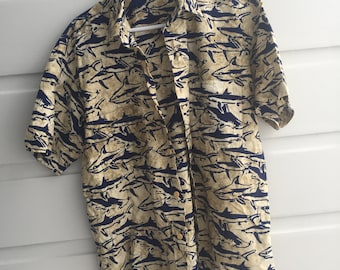 90s short sleeved shark print collared shirt