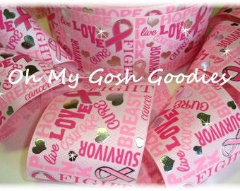 "Pink JUST SAYIN AWARENESS Bling Breast Cancer Awareness Tic Toc Cheer Grosgrain Ribbon - 3"" - 5 Yards - Oh My Gosh Goodies Ribbon"
