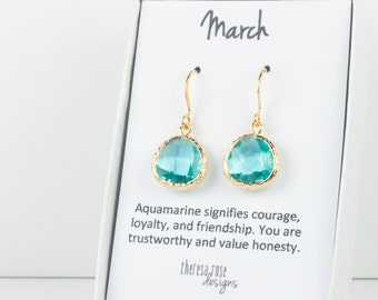 March Birthstone Aquamarine Gold Earrings, Gold Earrings, March Birthstone Gold Earrings, March Birthday Gift, Bridesmaid Earrings