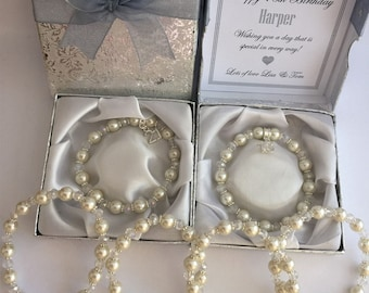 Pearl & Crystal Bracelet 16th, 18th, 21st, 30th, 40th, 50th, Birthday gift Age Personalised Box