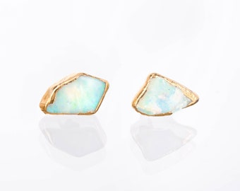 Raw Opal Earrings, Statement Jewelry, Opal Stud Earrings, Raw Crystal Earrings, Dainty Earrings, Delicate Earrings, Boho Earrings, October