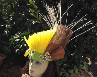 Cook Islands & Tahitian Headpiece/Headdress. Authentic Materials, hau grass, coconut bark, coconut leaves and cowrie shells.