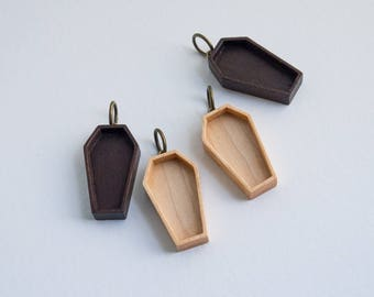 Coffin blank pendant tray charm - Walnut or Maple - 18 x 33 mm cavity - Brass finish eye and ring bail - (P72) - Set of TWO