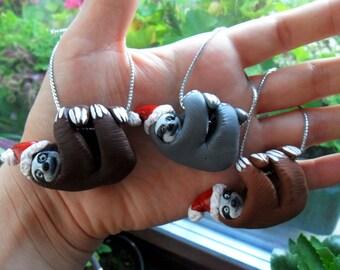 Santa Sloth Christmas Ornament - Christmas Tree Ornaments - Sloth Miniature Figurines - Polymer Clay Sloths