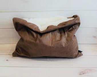 Handmade in uk Pet Snuggle sack sleeping bag  Pouch bag Cosy Cave  bedding