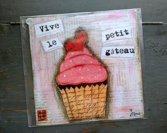 "SALE! Whimsical Print, 8"" x 8"" Cupcake Print, Whimsical Art Print, Mixed Media Print, Sale Print, Whimsical Cupcake, French Cupcake"