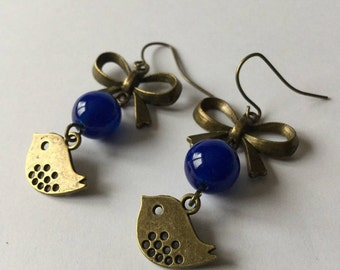 Bird and bronze bow, Blue Pearl Earrings