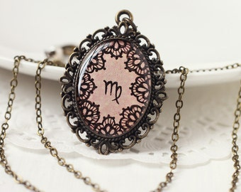 Virgo Zodiac Astrology Pendant Necklace, Pale Light Pink Lace Hand Drawn Art Original Painting