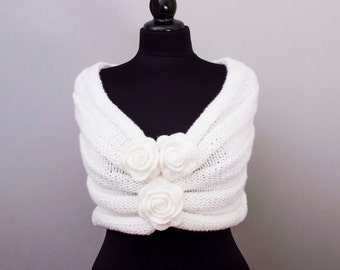 Bridal knitted stole ,knitted bridesmaid shawl crochet shawl scarf crocheted shrug capelet wrap, white
