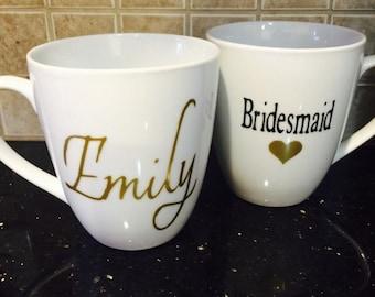 Bridesmaid coffee mug - bridesmaid gifts- custom coffee mugs - wedding party gifts - bridal party coffee mugs - wedding shower favors - mugs