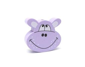 Head of Hippo purple wooden bead