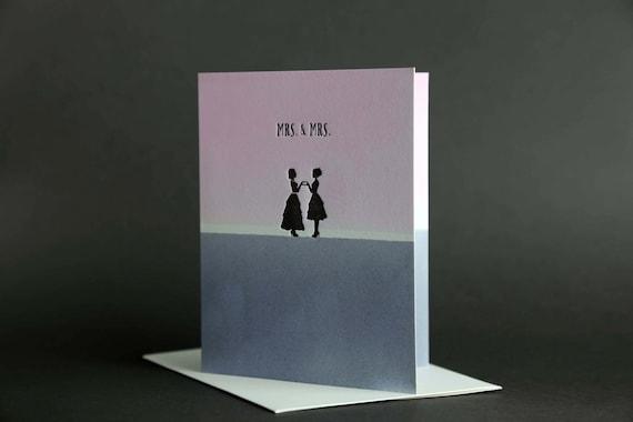 "Dip Dye: ""Mrs. & Mrs."" Wedding Love Letterpress card"