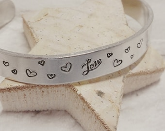 Love and hearts cuff bracelet, Hand Stamped, Aluminium