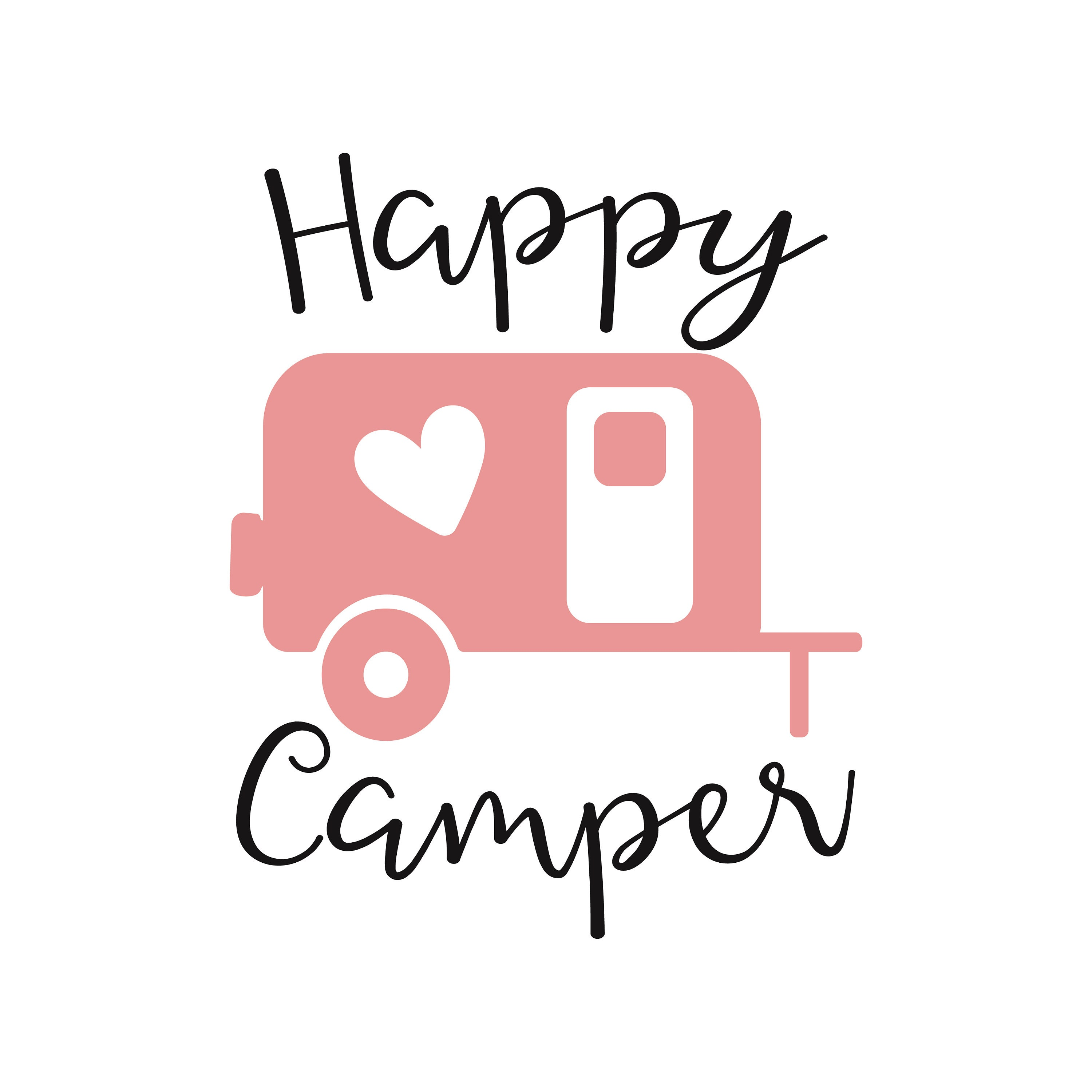 Happy Camper Svg Dxf Camping Rh Etsy Com Clipart Black And White