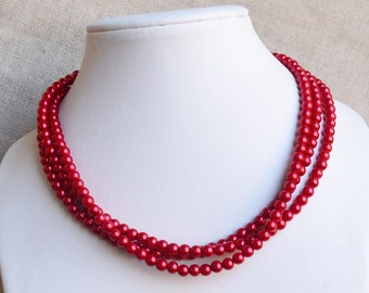 red pearl necklace,3-rows pearl necklaces,wedding necklace,bridesmaids necklace, glass pearls necklaces,pearl necklace,necklace,jewelry