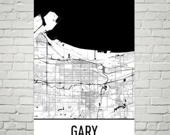 Gary Map, Gary Art, Gary Print, Gary IN Poster, Gary Wall Art, Gary Gifts, Map of Indiana, Indiana Poster, Indiana Decor, Indiana Map Print