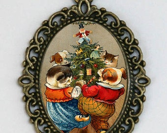 Christmas NECKLACE cats dogs dancing around tree holiday