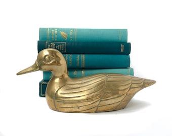 Vintage Brass Decoy Duck Figurine Mallard Paperweight Mid Century Brass Shelf Decor Brass Statue Sitting Duck Home Decor
