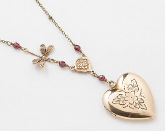 Vintage Locket Necklace, Heart Locket in Gold Filled with Genuine Red Garnet, Dragonfly Charm & Flower and Leaf Engraving, Heart Necklace
