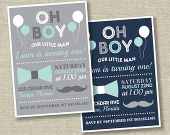 little man birthday invitation, mustache birthday invitation, bowtie birthday invitation, boy first birthday invitation,