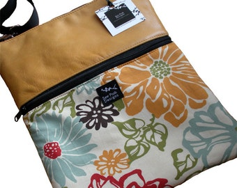 Honey Gold Yellow Leather Retro Funky Flower Fabric iPad Kindle DX Nook Computer Travel Messenger Bag  Sling Purse-Afternoon Delight