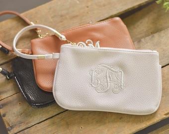 Monogrammed Wristlet Wallet, Bridesmaid Gift, Personalized Wristlet, Monogram Wristlet
