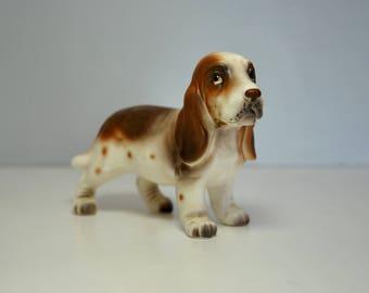 Vintage Basset hound dog figurine, Napcoware 1960's dog figurine, so sweet
