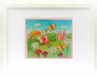 Girls fairy print, fairy print for girls, fairy art print for girls, bright and colourful print for girls, fairyland print, fairyland art