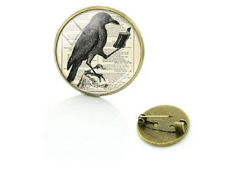 Black Raven Pin Brooch - Edgar Allen Poe - Crow - Glass Dome - Reading - Bird - Jewlery