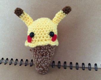 Crochet pikachu ice cream amigurumi