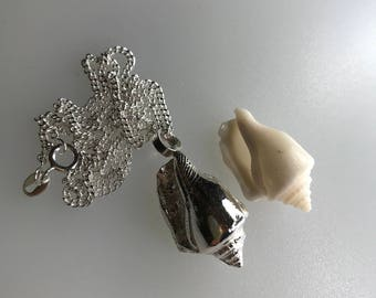 Silver Shell Pendant with Sterling Slver Curb Chain